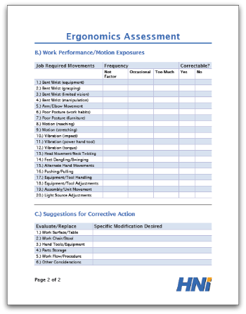 Ergonomics Assessment Template  Assessment Forms Templates