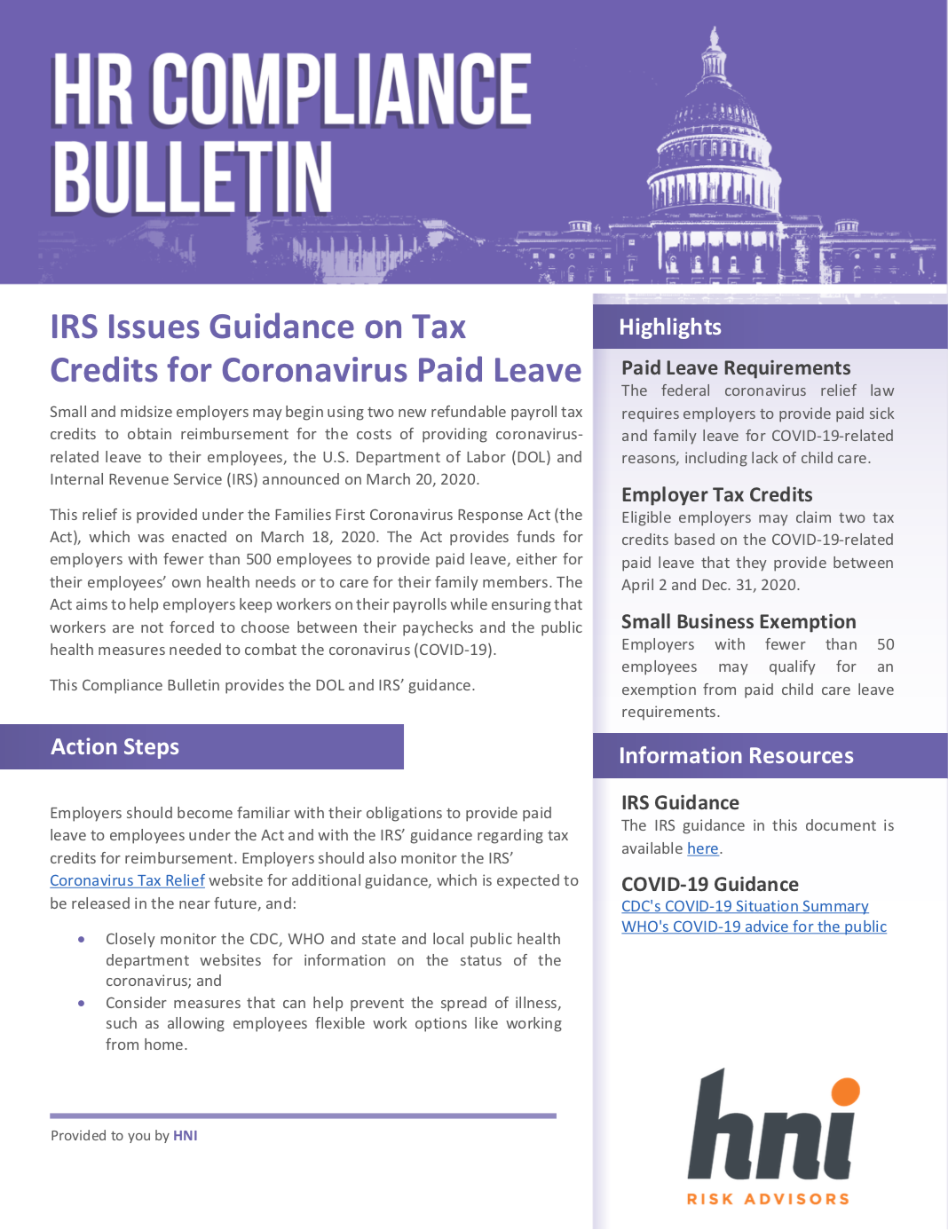 IRS Guidance on Tax Credits for Paid Leave